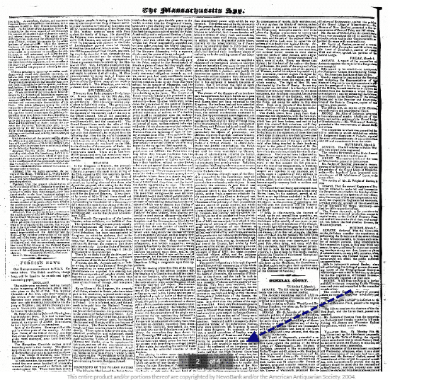 A screenshot of GenealogyBank's Search Results Page showing the function to brows back and forth through the newspaper's pages
