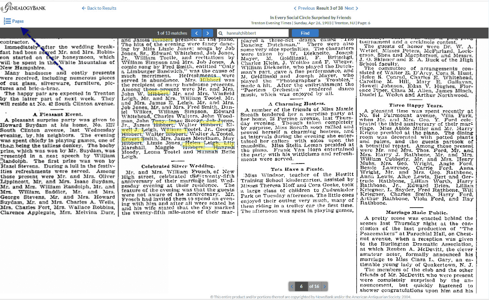A screenshot of GenealogyBank's Search Results Page showing the function to view all pages of the newspaper