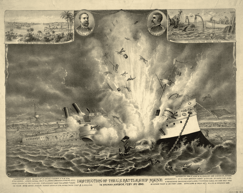 "Illustration: painting by the Chicago firm of Kurz & Allison showing the destruction of the U.S. battleship Maine in Havana Harbor, Cuba, with inserts of location of the ""Maine-Havana Habor,"" recovering the dead bodies, and head-and-shoulders portraits of Admiral Sicard and Captain Sigsbee"