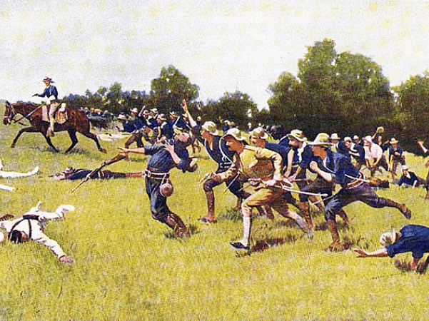 "Illustration: ""Charge of the Rough Riders at San Juan Hill"" by Frederic Remington. Credit: Wikimedia Commons."