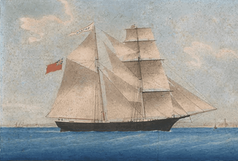 "Illustration: ""Brigantine Amazon entering Marseilles in November 1861. In 1868 she was renamed Mary Celeste"