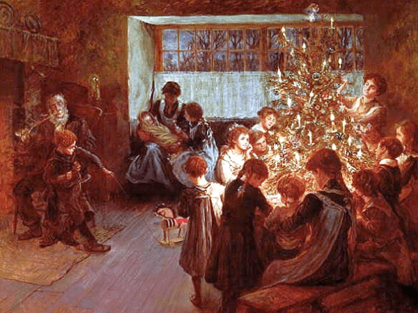 "Painting: ""The Christmas Tree"" by Albert Chevallier Tayler, 1911. Source: Wikimedia Commons."