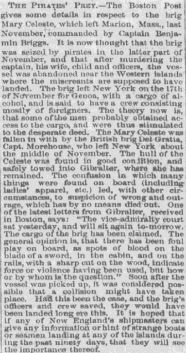 "An article about the mystery of the ""ghost ship"" Mary Celeste, Indianapolis Sentinel newspaper article 2 March 1873"