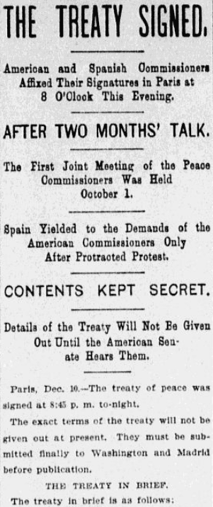 An article about the signing of the Paris Treaty, ending the Spanish-American War, Kansas City Star newspaper article 10 December 1898
