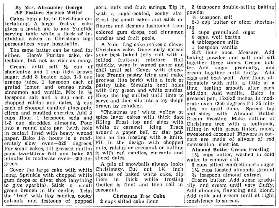 A recipe for a Yule Log cake, Lexington Herald newspaper article 8 December 1939