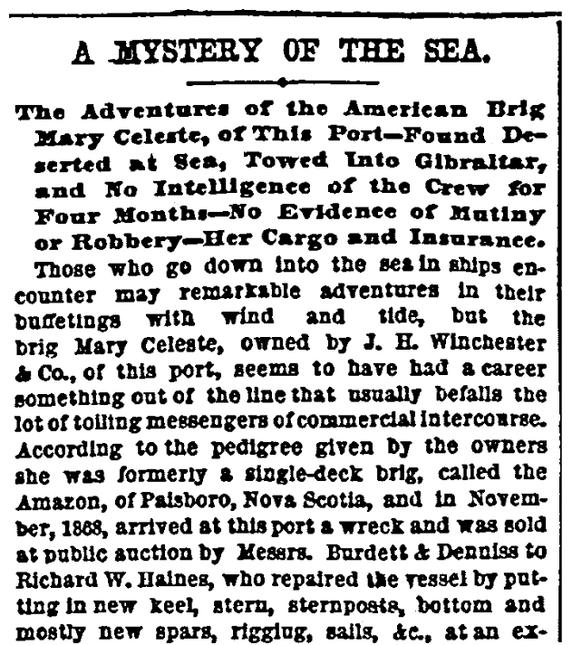"An article about the mystery of the ""ghost ship"" Mary Celeste, New York Herald newspaper article 15 March 1873"