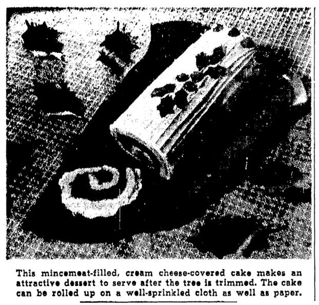 A photo of a Yule Log cake, Oregonian newspaper article 20 December 1945