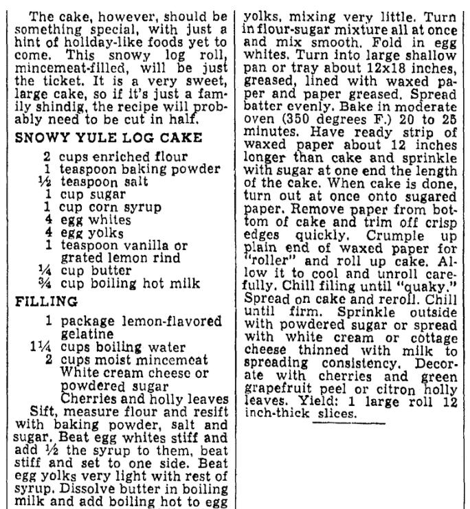 A recipe for a Yule Log cake, Oregonian newspaper article 20 December 1945