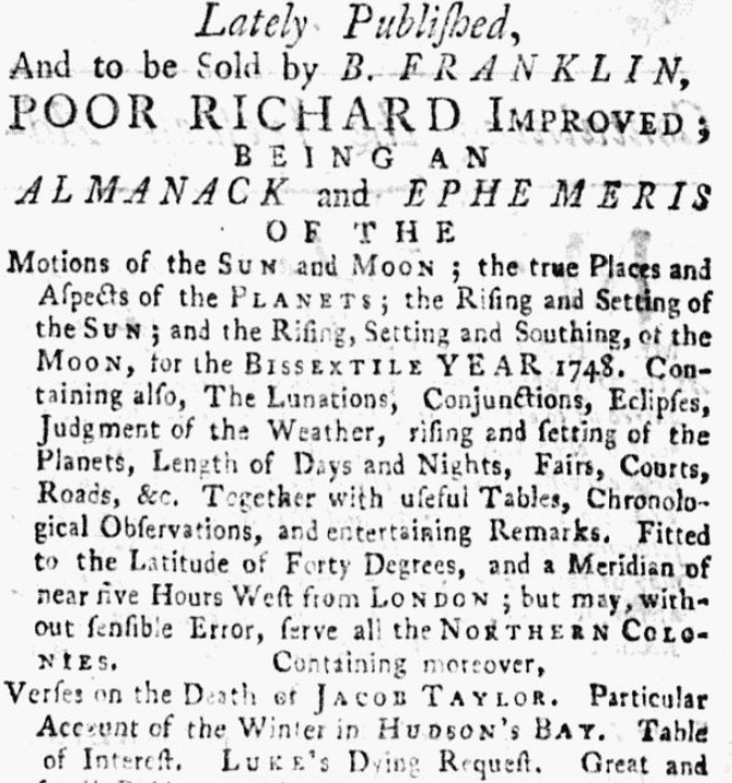 "An ad for ""Poor Richard's Almanack,"" Pennsylvania Gazette newspaper article 29 December 1747"
