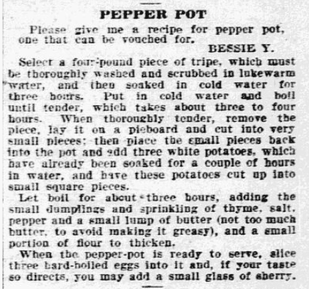 A recipe for Pepper Pot soup, Philadelphia Inquirer newspaper article 28 December 1904