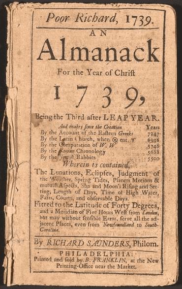 "Photo: 1739 edition of ""Poor Richard's Almanack"""