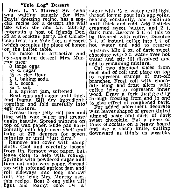 A recipe for a Yule Log cake, Tacoma Daily Ledger newspaper article 23 December 1960