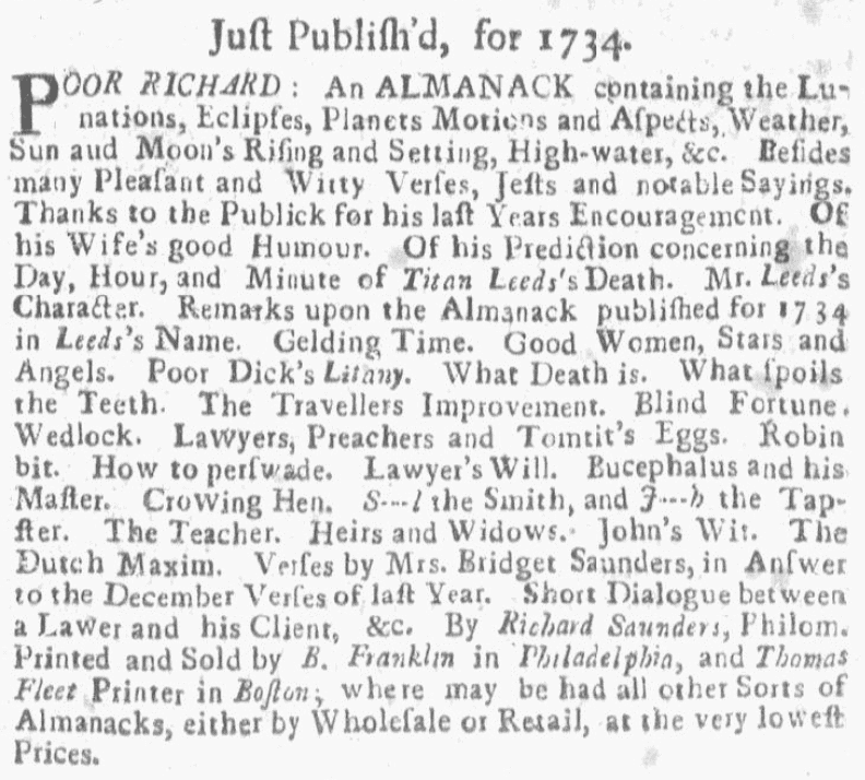 "An ad for ""Poor Richard's Almanack,"" Weekly Rehearsal newspaper advertisement 17 December 1733"