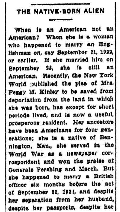 An article about U.S. citizenship for women, Advocate newspaper article 28 July 1927