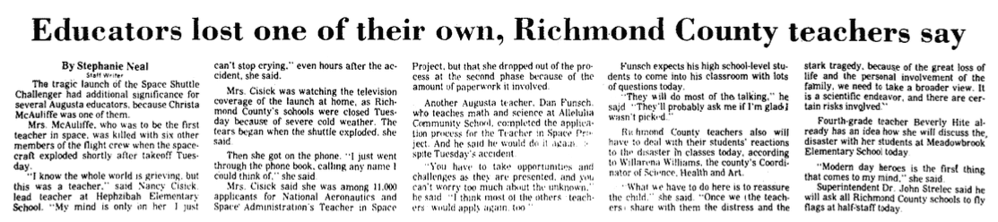 An article about the explosion of the space shuttle Challenger, Augusta Chronicle newspaper article 29 January 1986