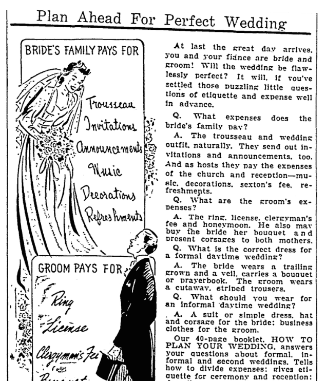 An etiquette column, Columbia Record newspaper article 9 August 1941
