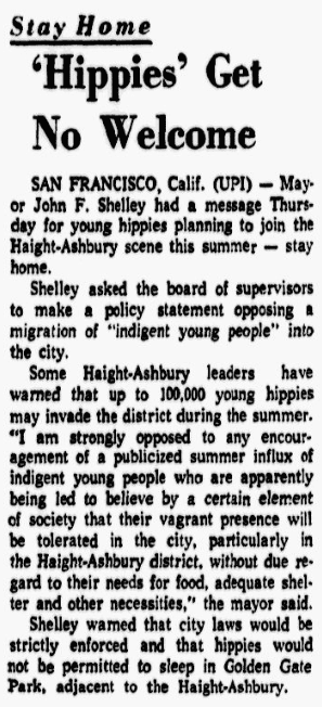 """An article about the first """"Human Be-In"""" in San Francisco's Golden Gate Park, Dallas Morning News newspaper article 24 March 1967"""