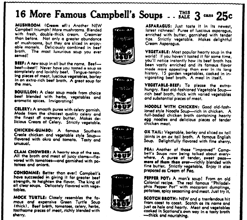 An ad for Campbell's soup, Evening Star newspaper advertisement 2 November 1936