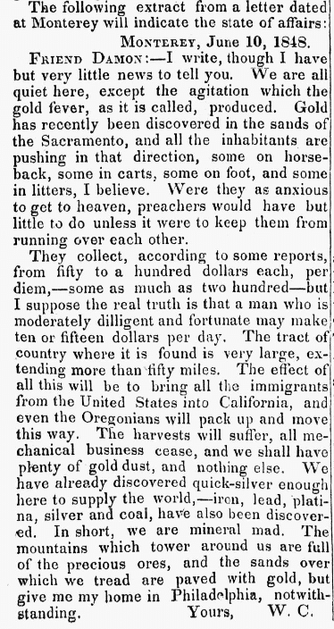 An article about the California Gold Rush, Friend newspaper article 1 July 1848