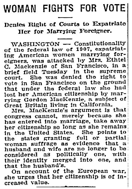 An article about U.S. citizenship for women, Idaho Statesman newspaper article 7 April 1915