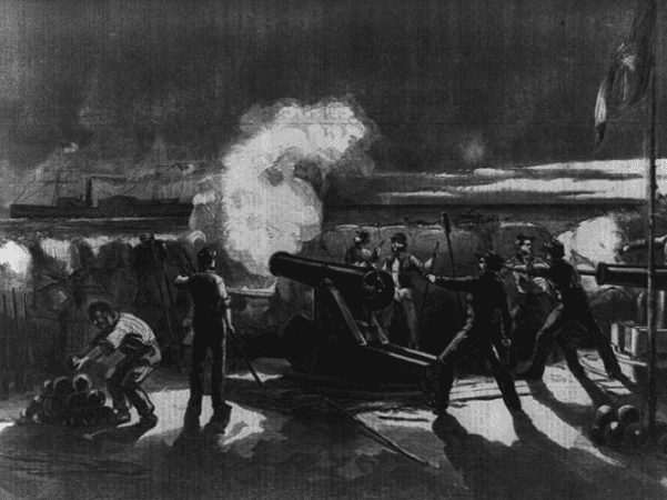 """Illustration: """"Firing on the 'Star of the West' from the South Carolina battery on Morris Island,"""" 9 January 1861. Credit: Library of Congress, Prints and Photographs Division."""