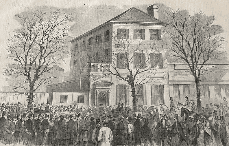 """Illustration: a crowd gathers outside Gov. Francis Pickens' house in Charleston, South Carolina, to hear the news of the firing on the """"Star of the West,"""" 9 January 1861"""