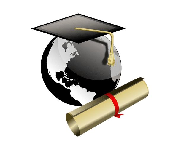 Illustratiion: college cap and diploma for graduation