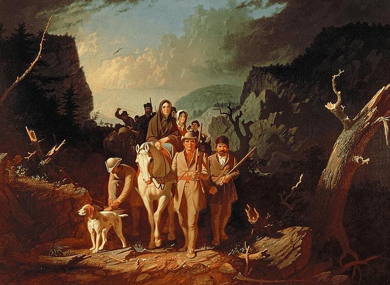 "Illustration: ""Daniel Boone Escorting Settlers through the Cumberland Gap"" by George Caleb Bingham, 1851–52"