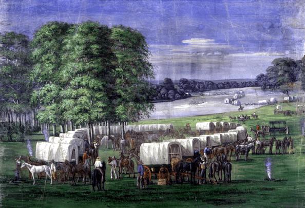 "Illustration: ""Pioneers Crossing the Plains of Nebraska"" by C.C.A. Christensen, 19th century"
