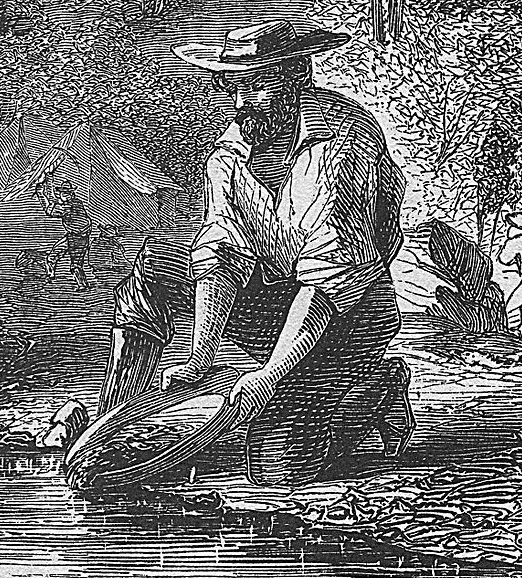 Illustration: man panning for gold in the California gold fields