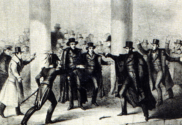 Illustration: an 1835 etching of the attempted assassination of President Andrew Jackson