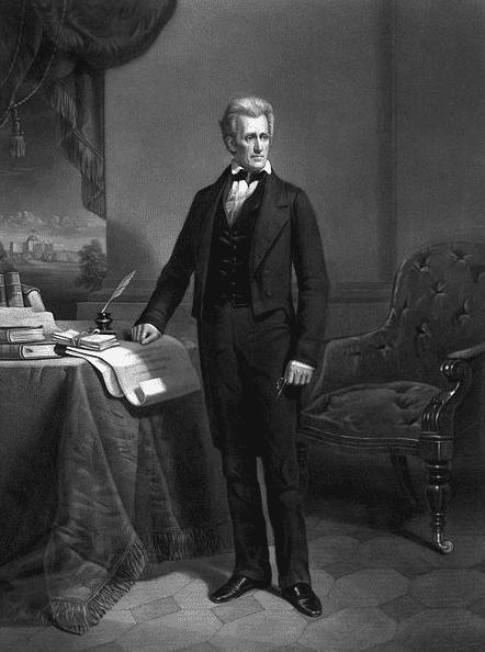 Illustration: portrait of President Andrew Jackson, by Dennis Malone Carter