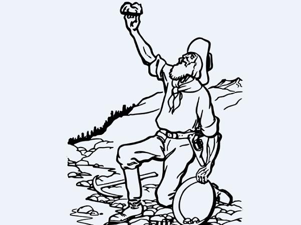 Illustration: a man panning for gold