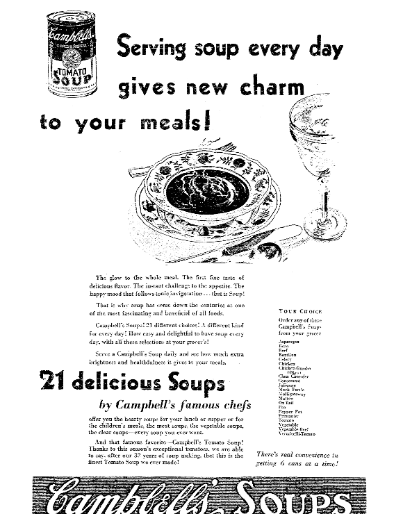 An ad for Campbell's soup, Kansas City Star newspaper advertisement 21 February 1930