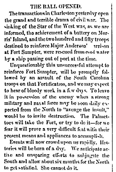 """An article about the firing upon the ship """"Star of the West"""" by South Carolina militia, Macon Telegraph newspaper article 10 January 1861"""