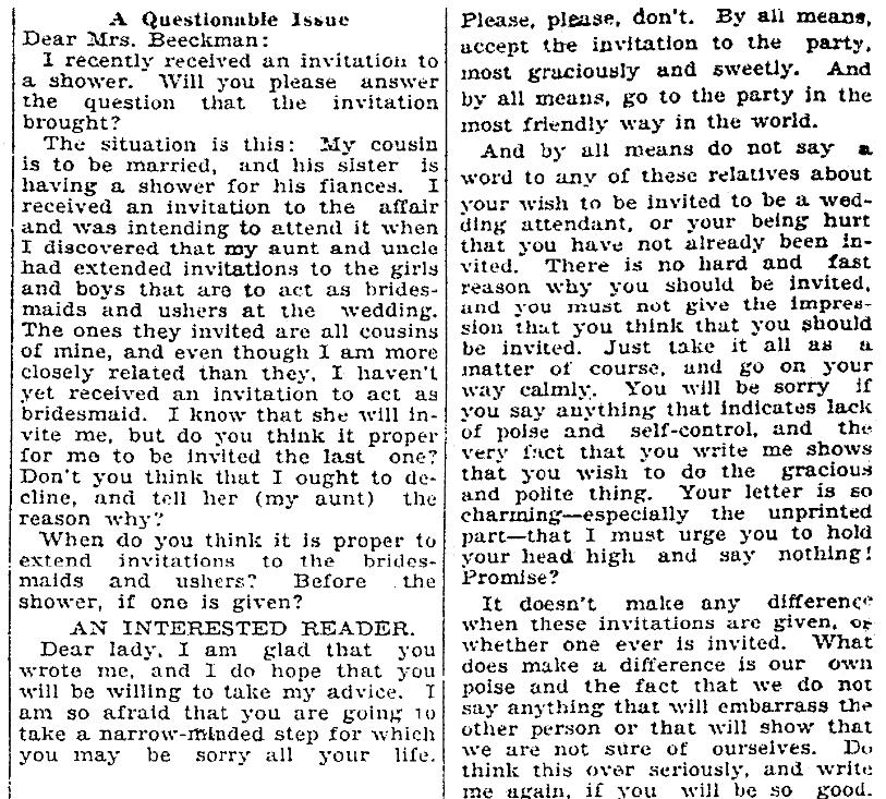 An etiquette column, Macon Telegraph newspaper article 24 December 1927