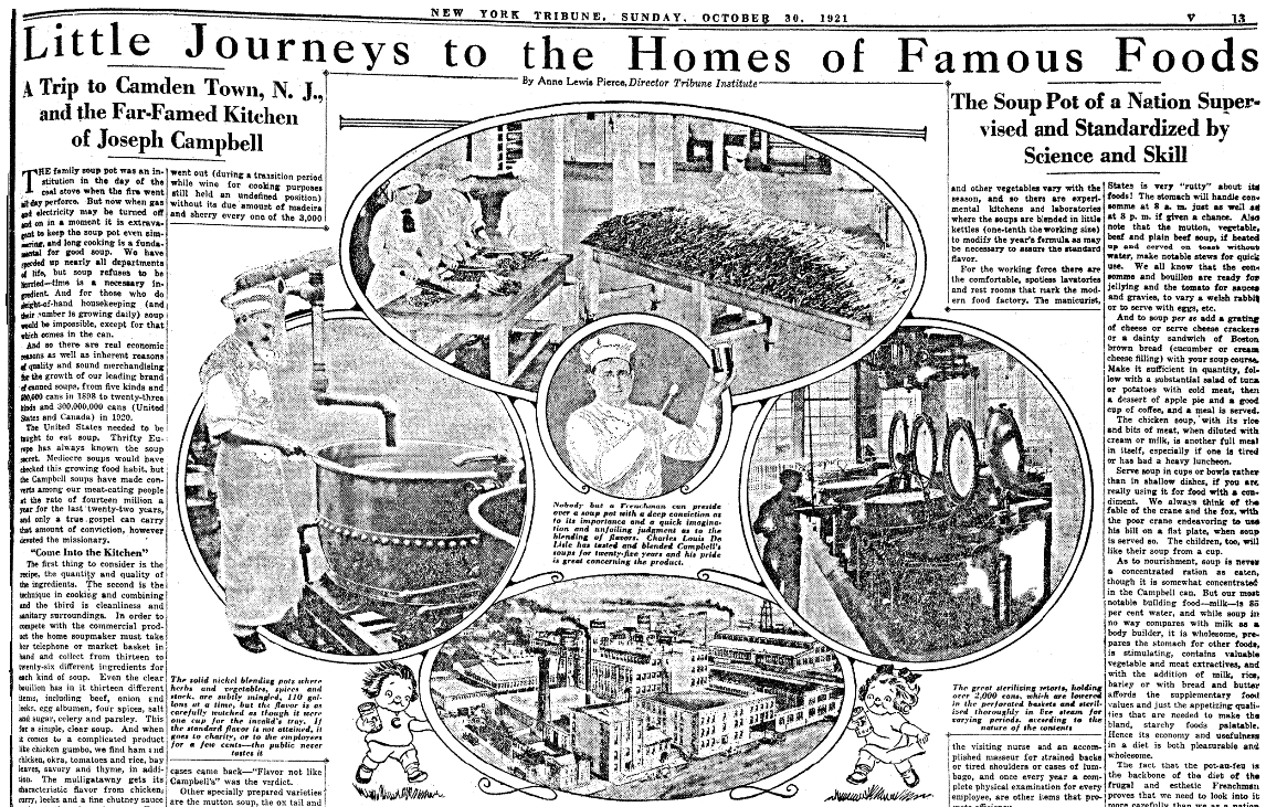 An article about the Campbell's Soup Company, New-York Daily Tribune newspaper article 30 October 1921