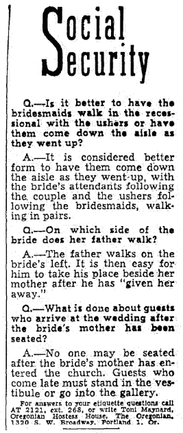 An etiquette column, Oregonian newspaper article 13 May 1949