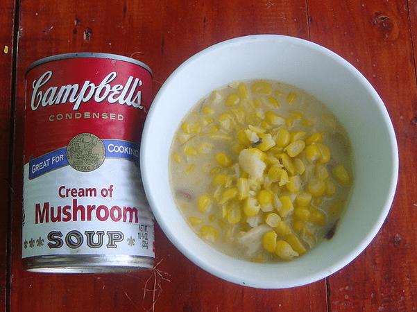 Photo: fresh corn with (Campbell's condensed) cream of mushroom soup. Credit: Ramon F. Velasquez; Wikimedia Commons.