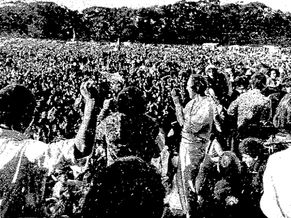 """Photo: the crowd enjoying the """"Human Be-In"""" in San Francisco's Golden Gate Park on 14 January 1967. Credit: San Francisco Chronicle."""