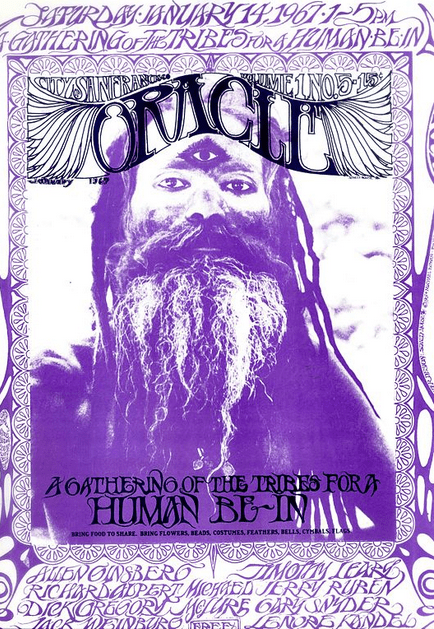 """Photo: cover of the """"San Francisco Oracle,"""" Volume 1 No. 5, January 1967, announcing the upcoming """"Human Be-In"""""""