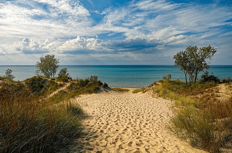 Photo: Lake Michigan as seen from the sand dunes of Indiana Dunes State Park