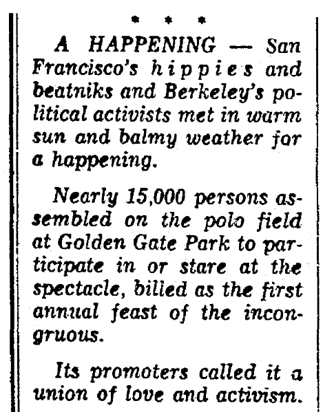 """An article about the first """"Human Be-In"""" in San Francisco's Golden Gate Park, Plain Dealer newspaper article 16 January 1967"""