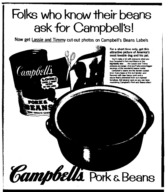An ad for Campbell's pork and beans, Plain Dealer newspaper advertisement 27 April 1958