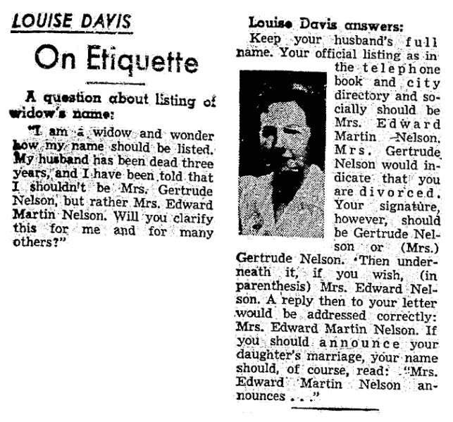 An etiquette column, Plain Dealer newspaper article 4 July 1955