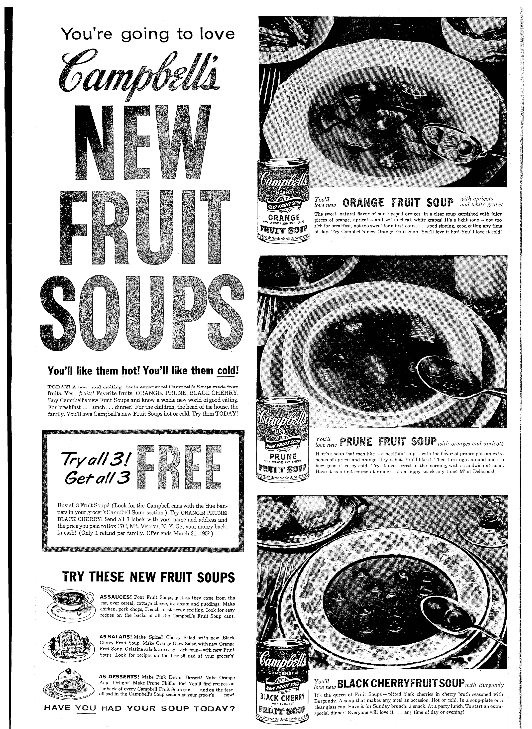 An ad for Campbell's soup, Seattle Daily Times newspaper advertisement 13 January 1959