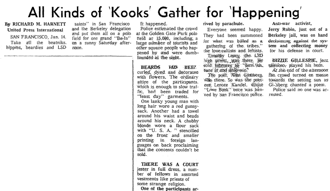 """An article about the first """"Human Be-In"""" in San Francisco's Golden Gate Park, Seattle Daily Times newspaper article 15 January 1967"""