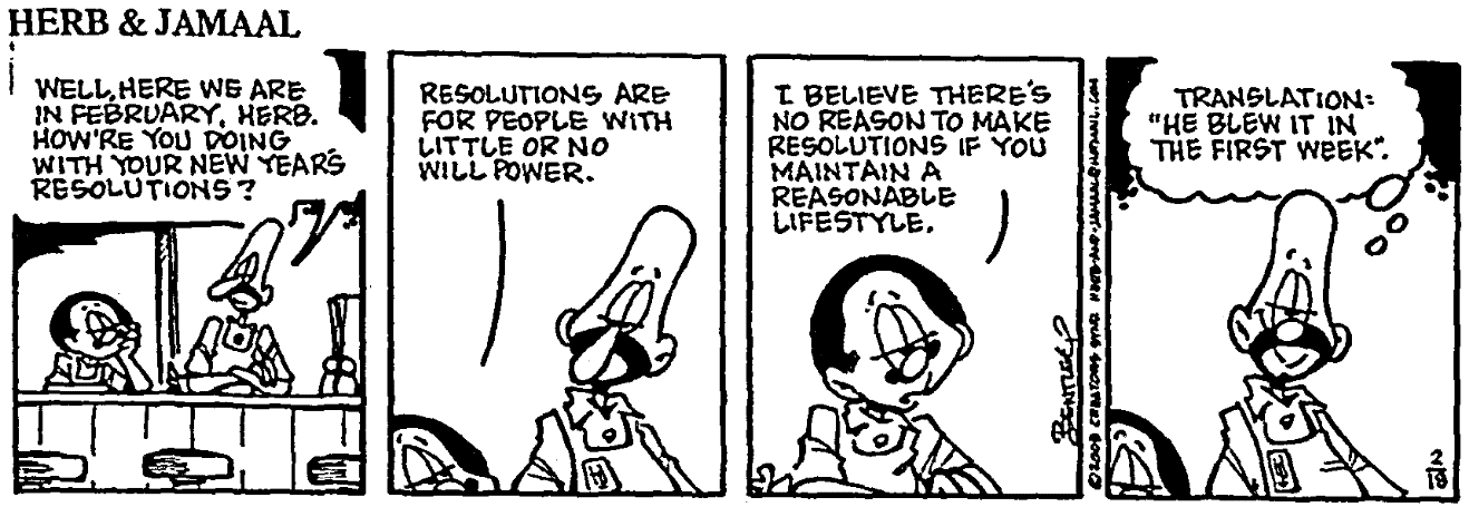 A comic strip about new year's resolutions, State newspaper article 18 February 2008
