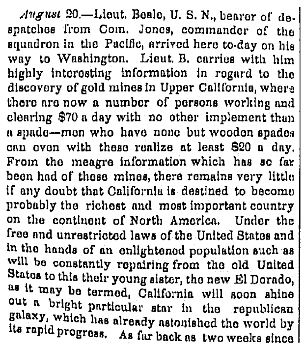 An article about the California Gold Rush, Times-Picayune newspaper article 12 September 1848