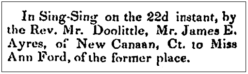 A wedding notice for James Ayres and Ann Ford, Westchester Herald newspaper article 27 October 1840